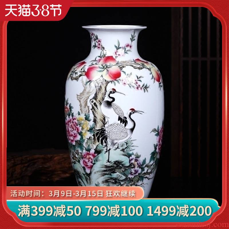 Jingdezhen ceramics vase hand - made pine crane, flower arranging new Chinese style living room decoration crafts porch place