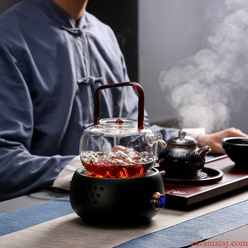 Ceramic TaoLu boiled tea machine automatic steam glass teapot household we tea special tea stove small black and white