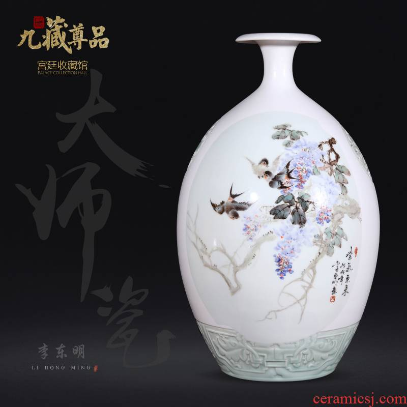 Jingdezhen ceramics dong - Ming li hand - made sabingga sukdun dergici jimbi vase Chinese style living room TV cabinet decorative furnishing articles arranging flowers