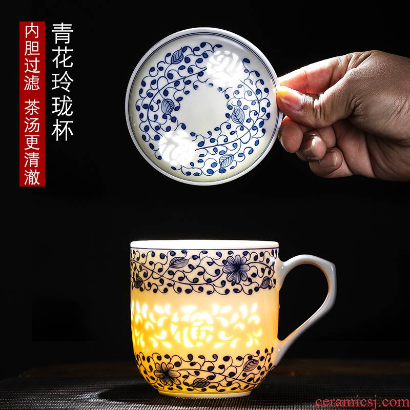 Jingdezhen porcelain hand - made cup pure manual office large capacity filter cover cup tea cup linglong cup under the glaze