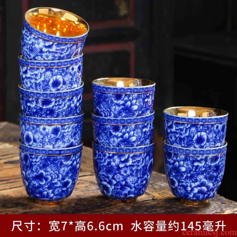 Blue and white tie up branch master cup single cup large household pure manual sample tea cup jingdezhen ceramic cups a single CPU