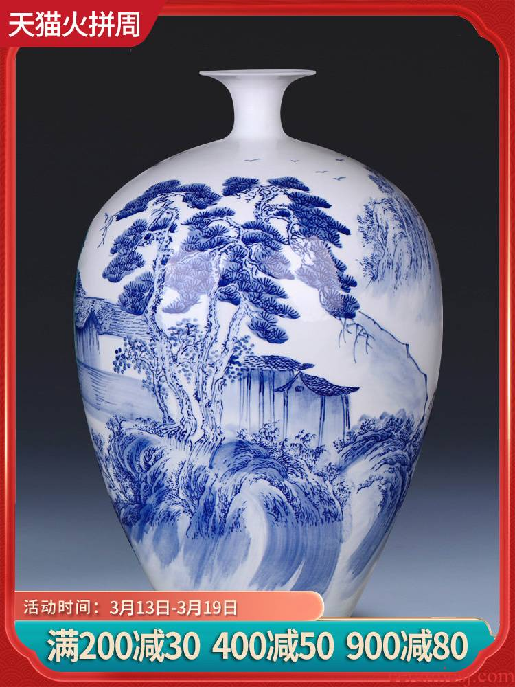 Jingdezhen ceramics by hand draw water bottle of blue and white porcelain vase flowers sitting room adornment handicraft furnishing articles