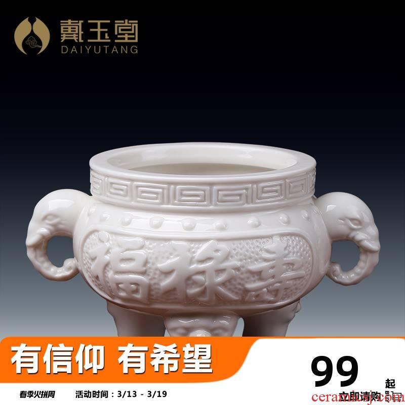 Yutang dai dehua white porcelain household Buddhism supplies incense holder inserted indoor furnishing articles/fu lu shou censers