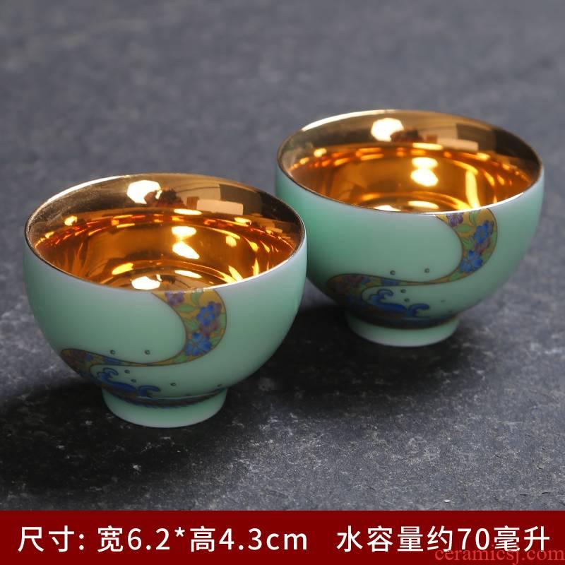 Celadon coppering. As yellow marigold cup jingdezhen tea cup gold single kung fu tea set white porcelain enamel hat cup single CPU
