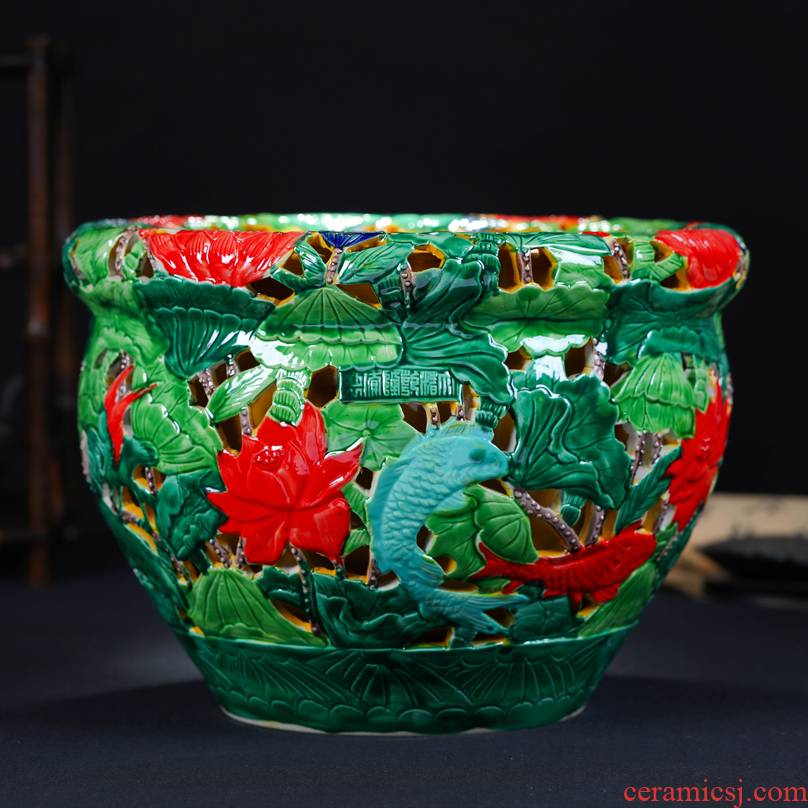 Archaize hand - carved double hollow out the fish tank Chinese jingdezhen ceramics sitting room porch decorate cylinder furnishing articles