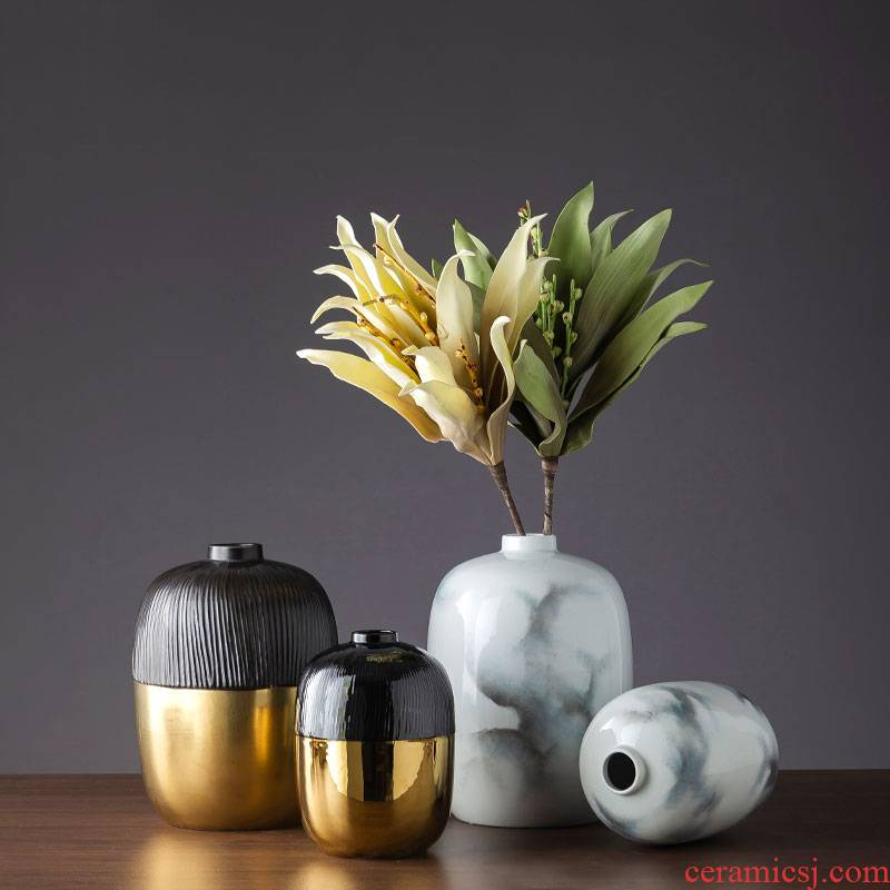 Ceramic flower furnishing articles sitting room adornment I and contracted creative household Ceramic table flower arranging flowers