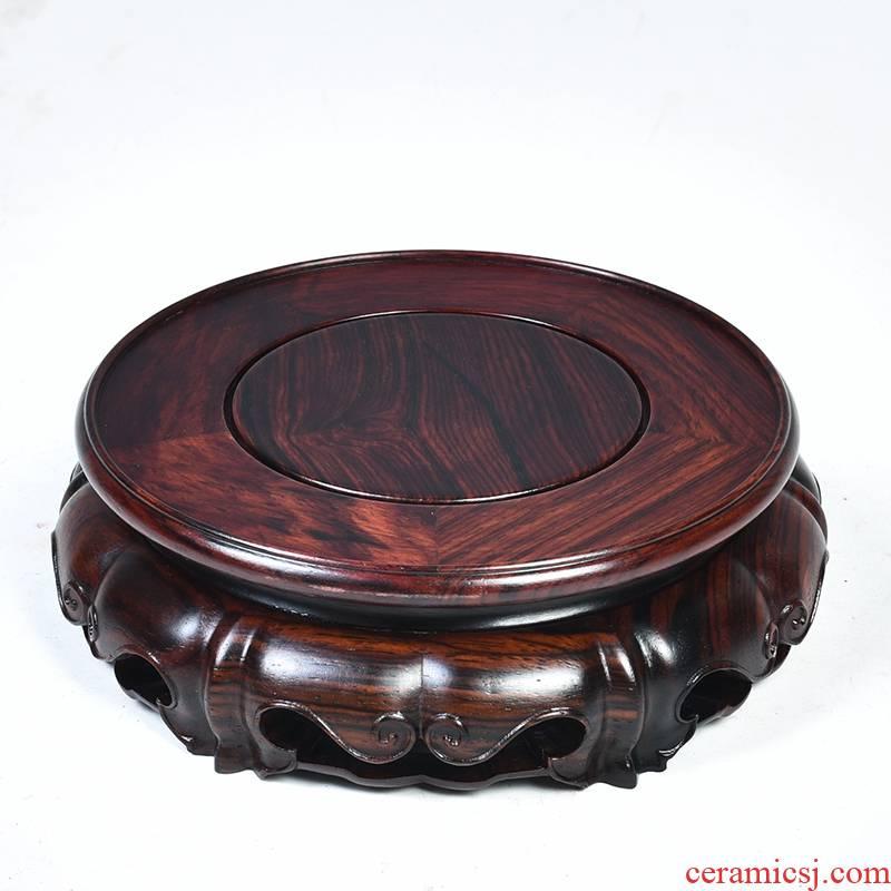 Red acid branch ruyi lotus circular base solid wood Buddha base vase base mahogany wood base