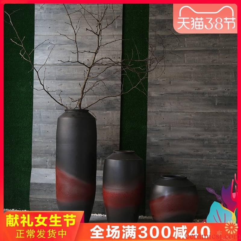 Jingdezhen retro nostalgia coarse TaoHua implement creative manual of large vases, ceramic flower decoration villa furnishing articles