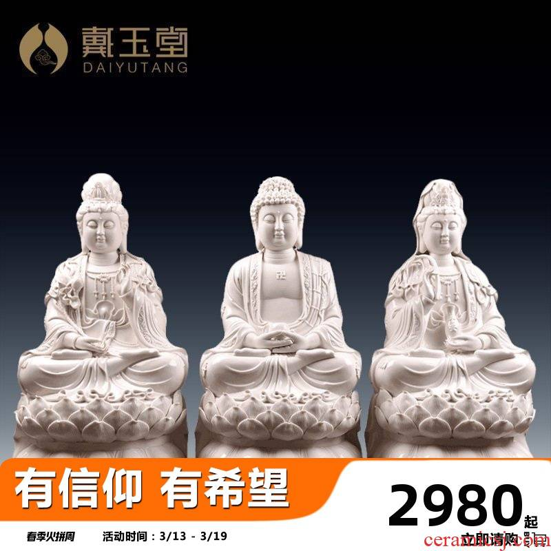 24 inches large porcelain carving furnishing articles yutang dai dehua white porcelain ceramic western three holy spirit like Buddha enshrined at home