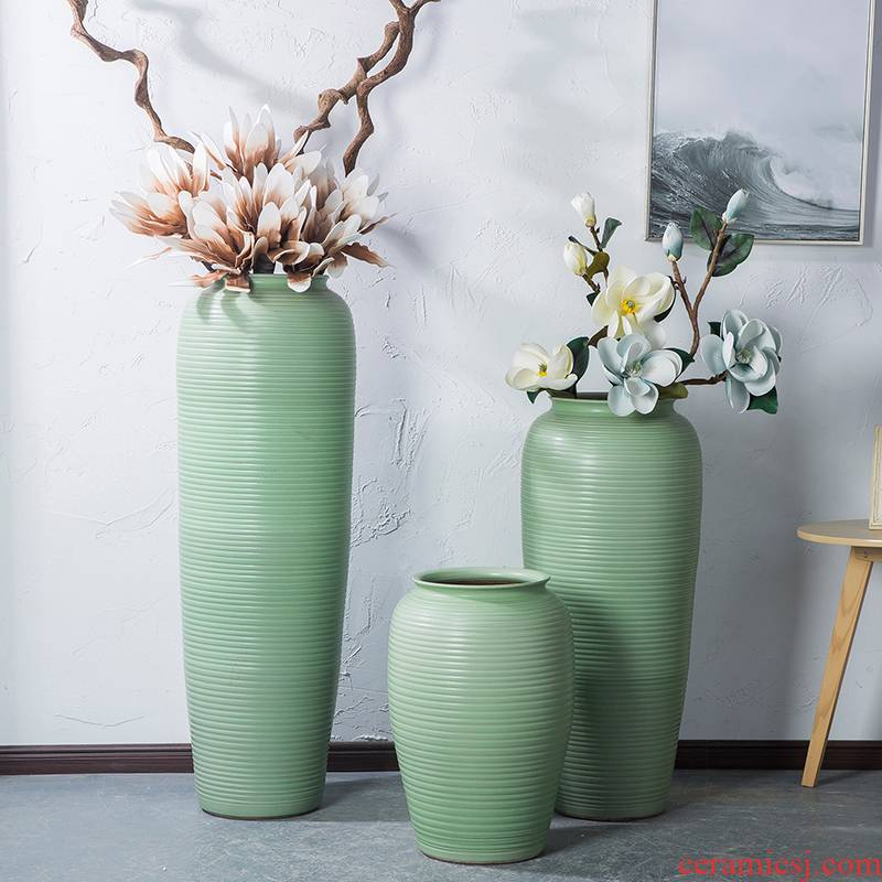 Jingdezhen I and contracted ceramic vase landing big sitting room dry flower arranging flowers is placed on the Nordic and fresh your up green