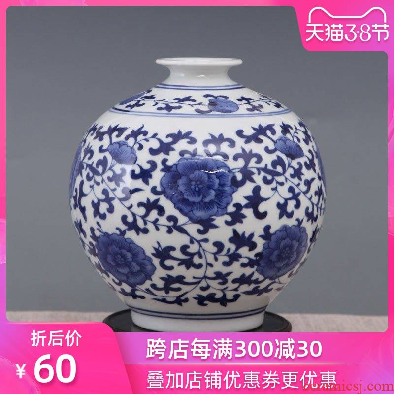 Art show of jingdezhen porcelain vase traditional blue and white vase furnishing articles mesa round neck vase decorate sitting room ground