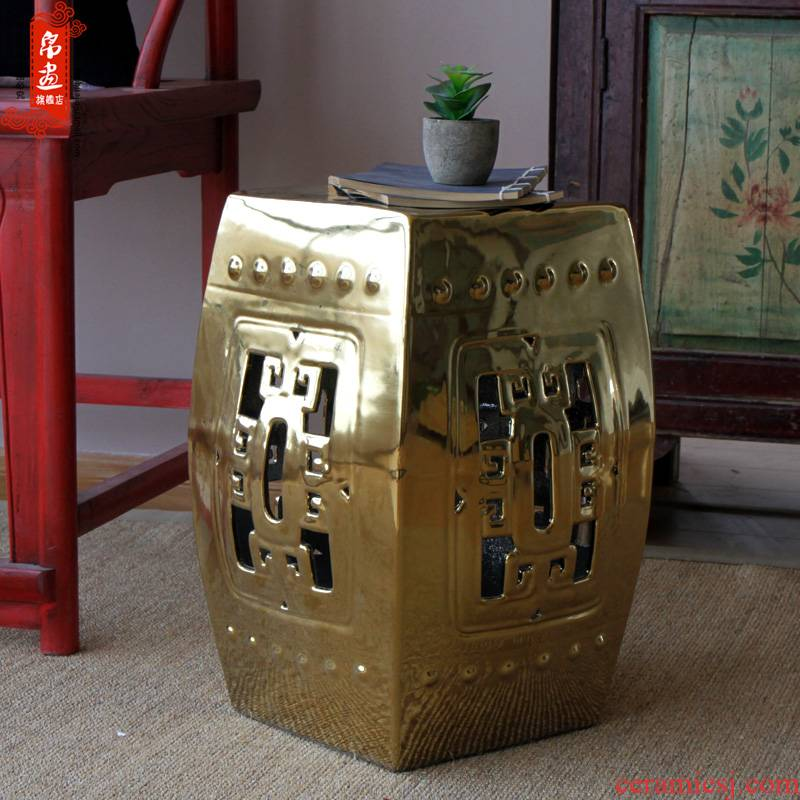 Jingdezhen gold/silver high temperature ceramic sitting room drum who household ceramic square/who floor furnishing articles