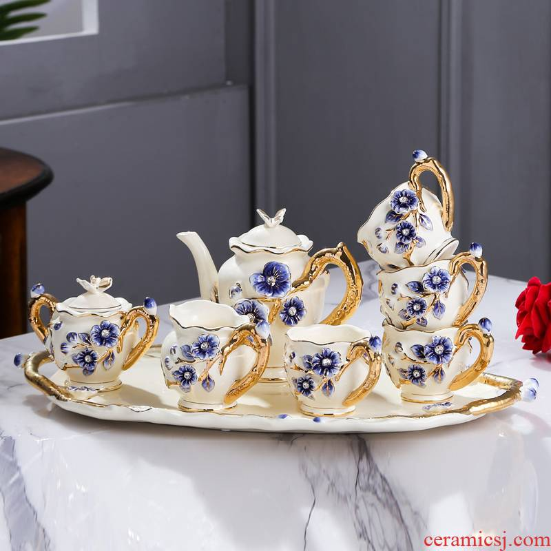 Fort SAN road new royal blue name plum flower series European ceramic tea set suit sitting room place, a wedding present for girlfriends