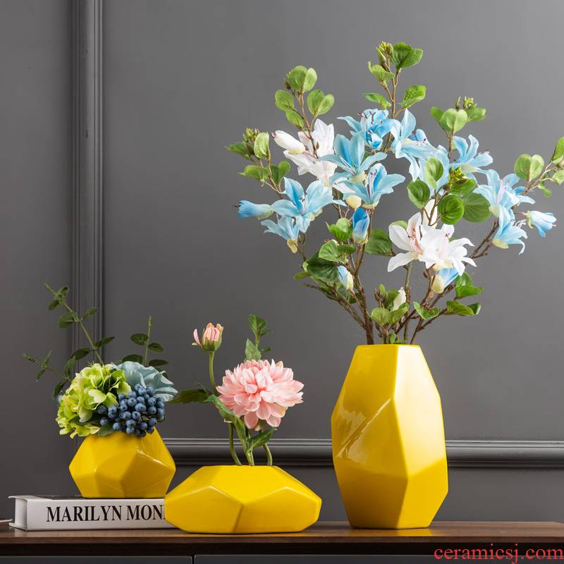 Ceramic vase furnishing articles household act the role ofing is tasted, the sitting room TV cabinet table decoration decoration ideas flower arranging yellow crafts