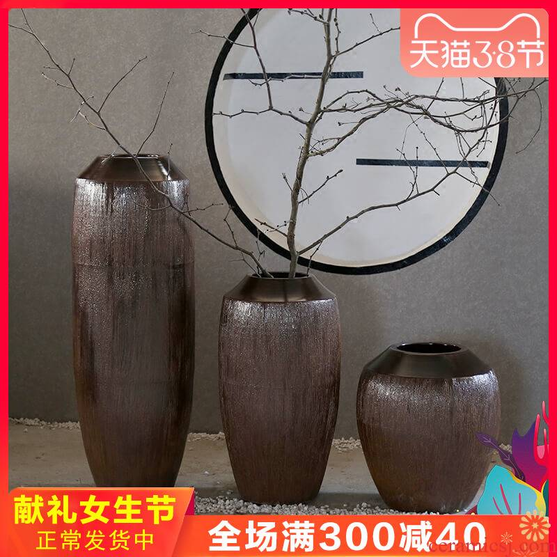 Retro nostalgia pottery decorative amphora landing jingdezhen ceramic furnishing articles manually flower receptacle villa large vase