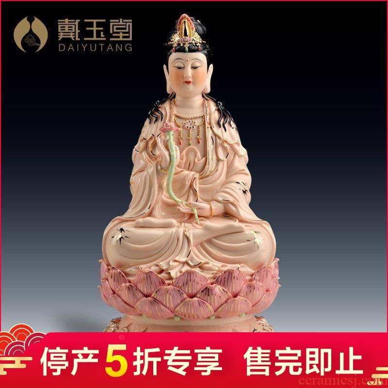 Dehua ceramic production 5 fold 】 【 bodhisattva figure of Buddha temple furnishing articles/gold full lotus trend to 14 inches