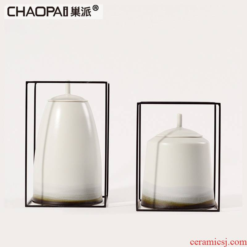 New Chinese style landscape scenery general ceramic tank furnishing articles post - modern art creativity window decorations