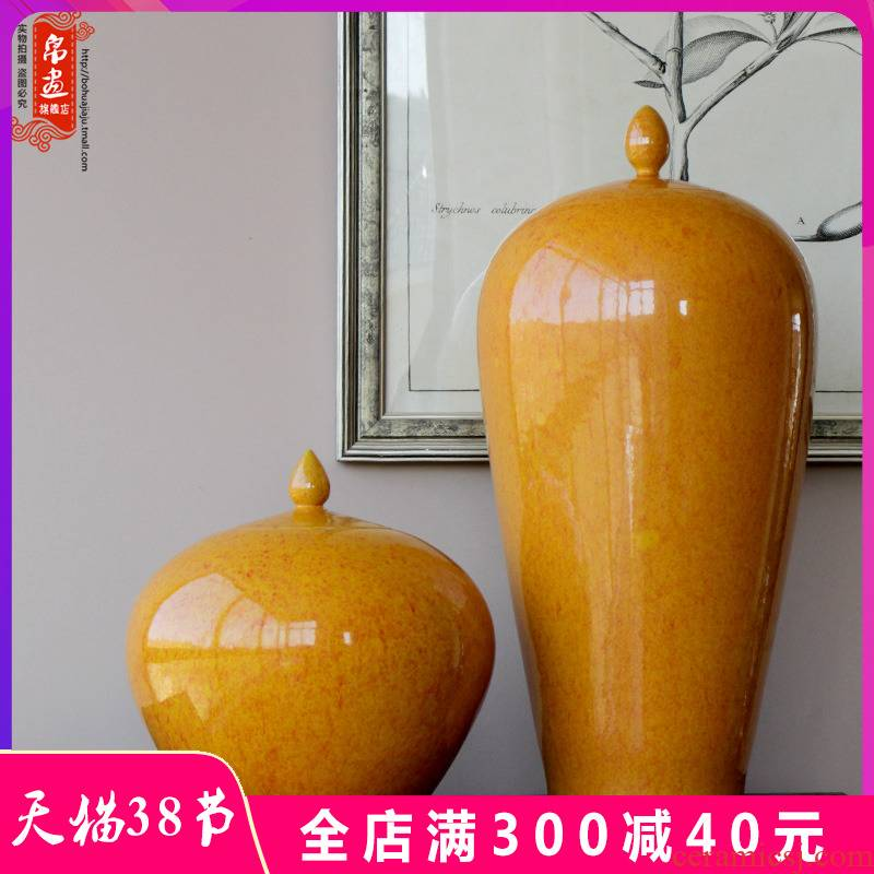 Jingdezhen ceramic vase fambe yellow agate with cover pot classical household soft adornment flower arrangement to receive furnishing articles