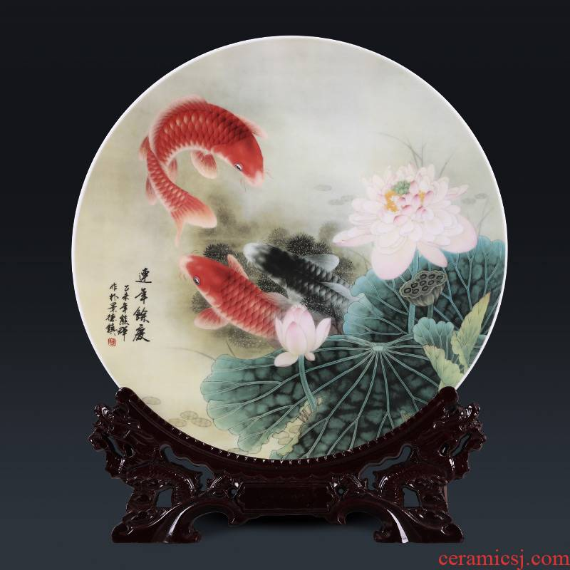 Jingdezhen ceramics decoration hanging dish circular plate in successive years more Chinese style porch office handicraft furnishing articles