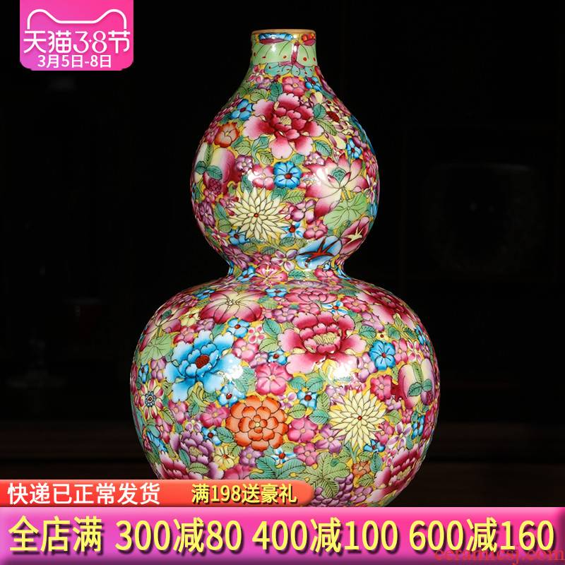 Jingdezhen ceramics hand - made pastel gourd vases, antique Chinese style living room porch rich ancient frame decorations furnishing articles