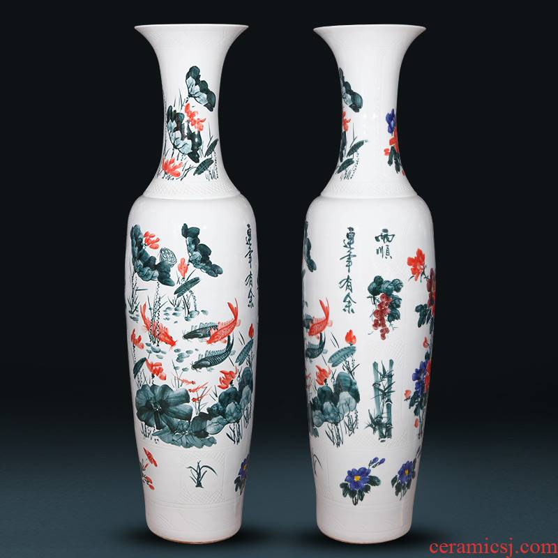Jingdezhen ceramics hand - made landing big vase 1 m 6 Chinese style living room hotel villa furnishing articles housewarming gift