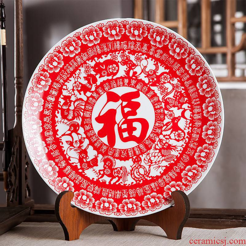 Jingdezhen ceramics furnishing articles household adornment hang dish wine festival arts and crafts of the sitting room porch decorate dish