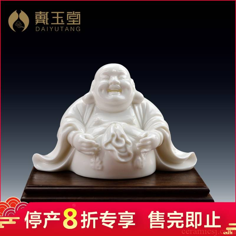 Dehua white porcelain production is pulled from the shelves 】 【 small figure of Buddha maitreya worship white marble porcelain smiling Buddha maitreya furnishing articles