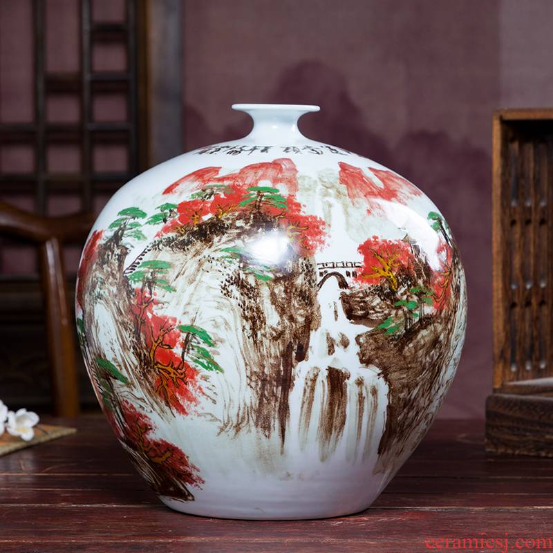 Jingdezhen famous hand - made ceramic vases, flower arranging living room TV cabinet decoration of Chinese style pomegranate bottles of furnishing articles