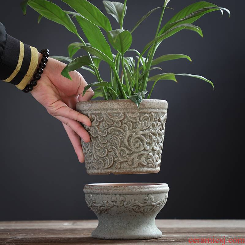 Flowerpot ceramic creative large ventilation butterfly orchid restoring ancient ways with tray clivia money plant flowers, potted the plants, fleshy