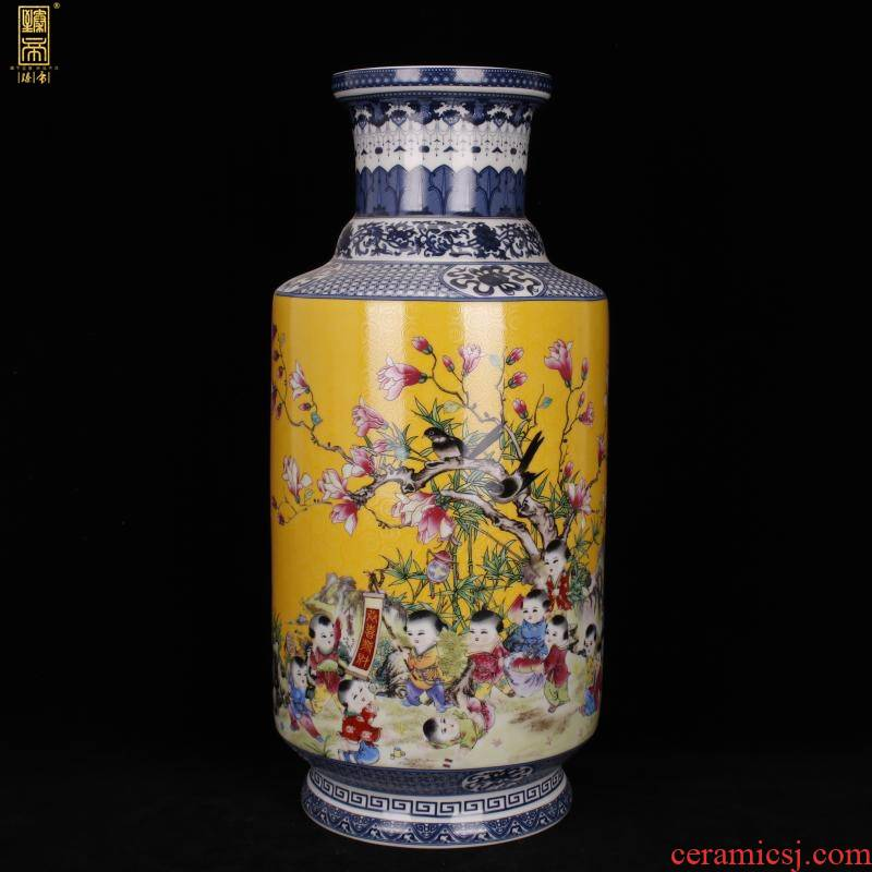 Jingdezhen imitation enamel qianlong years antique vase in pastel yellow flowers and birds were bottles of Chinese style household ground furnishing articles
