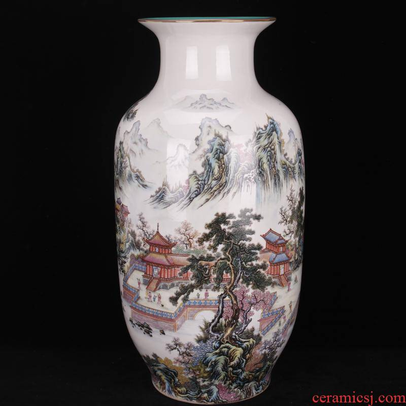 Jingdezhen landing big vase pastel arcadia Chinese style household living room decor furnishing articles of the company