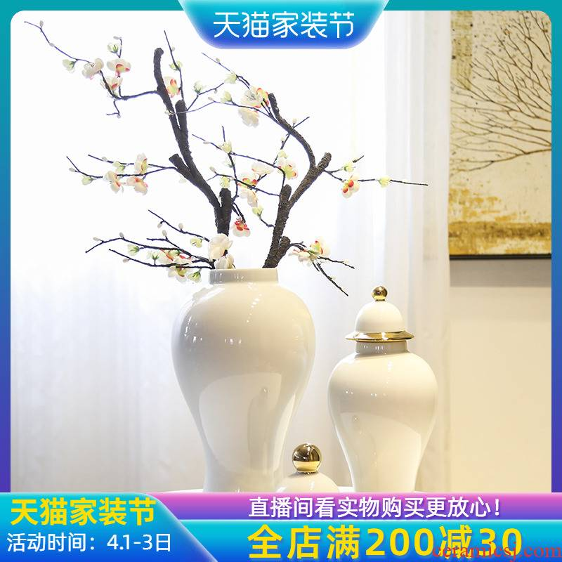 Jingdezhen new Chinese style white tank general furnishing articles sitting room porch mesa table flower between example club floral outraged
