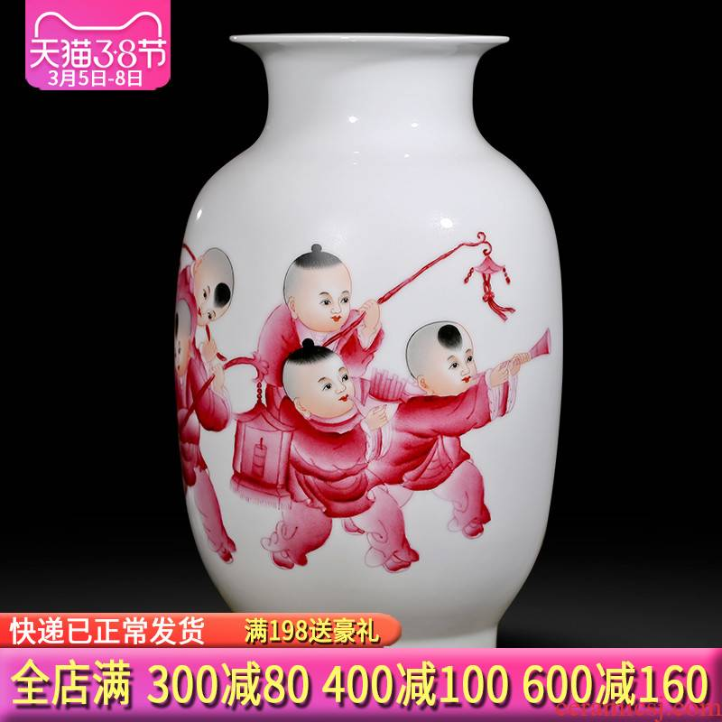 Jingdezhen ceramics hand - made vases, flower arranging is placed five sub - ka Chinese style household act the role ofing is tasted gift sitting room