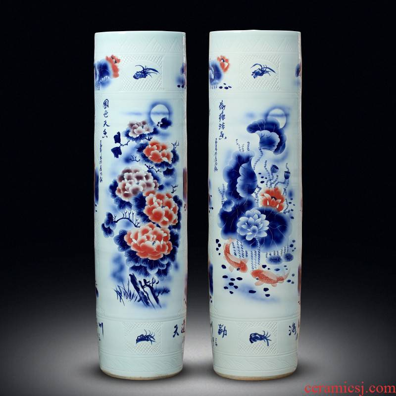 Jingdezhen ceramics hand - made landing big vase peony lotus sword barrel all hand carved quiver opening furnishing articles