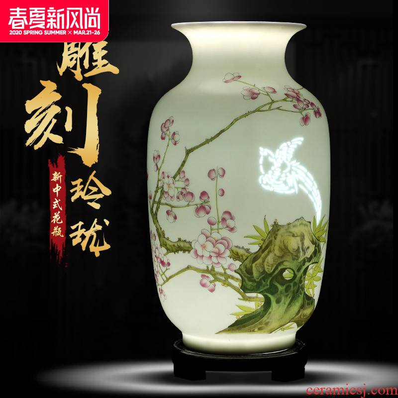 Exquisite knife clay porcelain jingdezhen ceramics vase furnishing articles sitting room flower arranging manual hand - made handicraft ornament