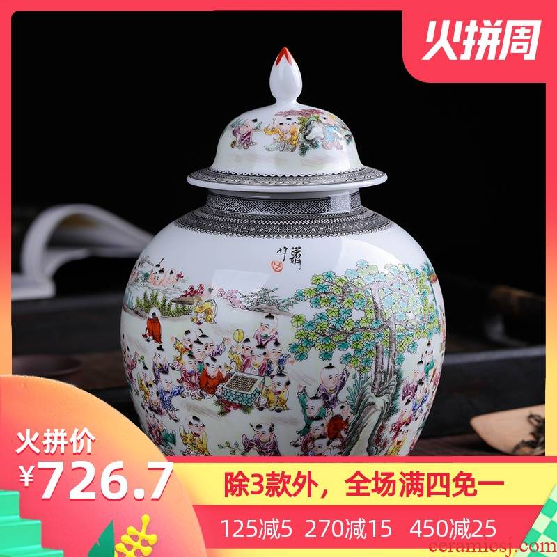 Jingdezhen ceramic hand - made caddy fixings small tea pot 1 catty box general household checking quality