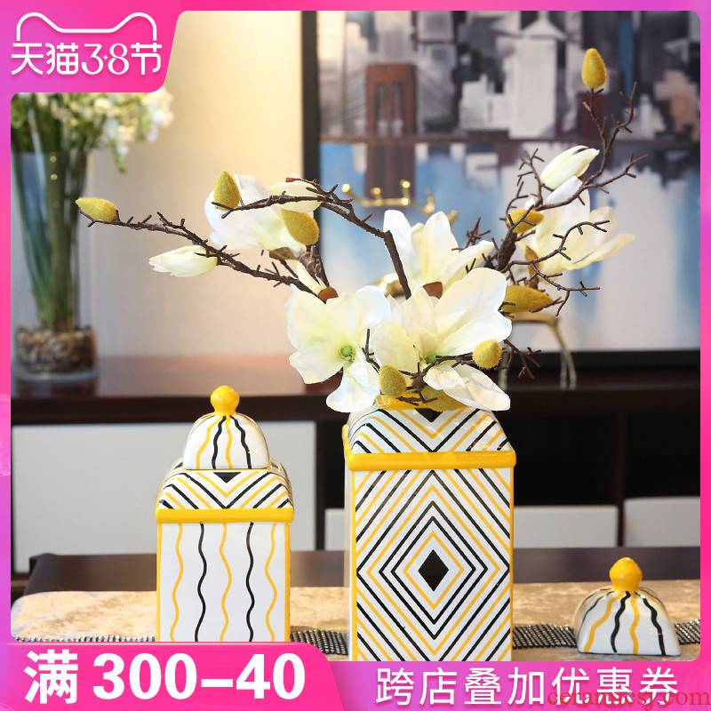 New Chinese style household adornment furnishing articles ceramic table sitting room vase floral porch TV ark, desktop decoration