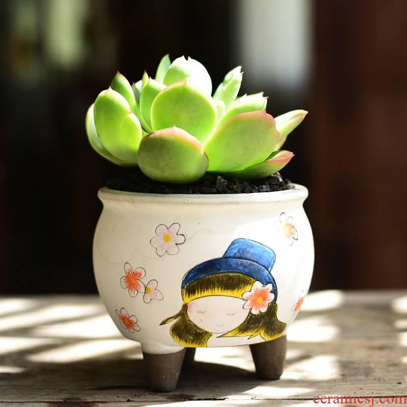 Korean lovely hand - made meaty plant high coarse pottery flowerpot ceramics creative move -raise fleshy flowerpot trumpet