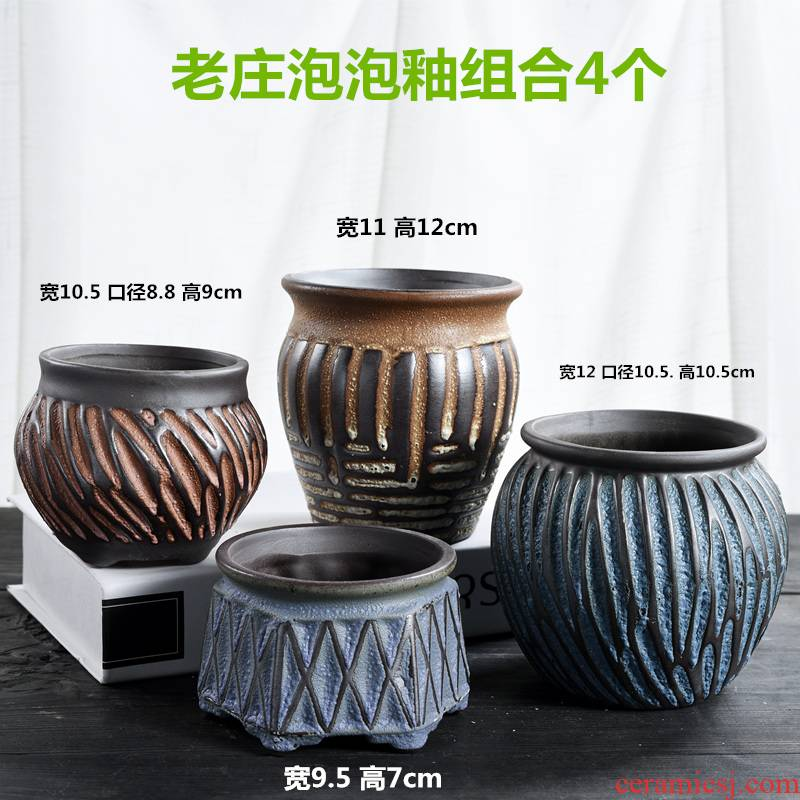 Old running the pot clay ceramic zhuang zi mage, coarse pottery creative Chinese wind restoring ancient ways flesh flower pot in a large, fleshy