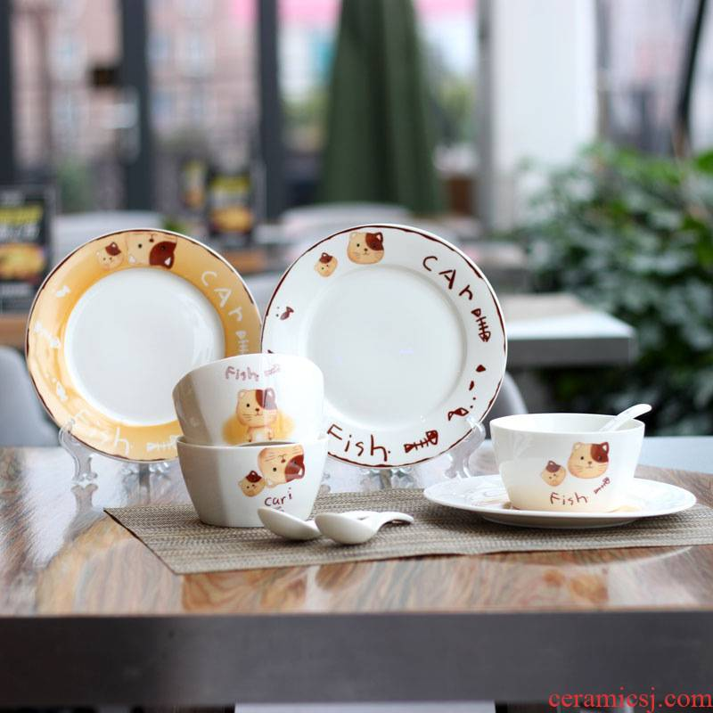 Love graces creative express kitten design children 's tableware ceramics household gifts tableware bowls plates three suits for