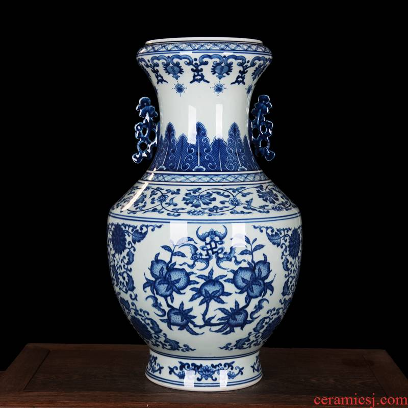 Jingdezhen blue and white peach ears high - end antique hand - made ceramics vase household adornment process sitting room furnishing articles