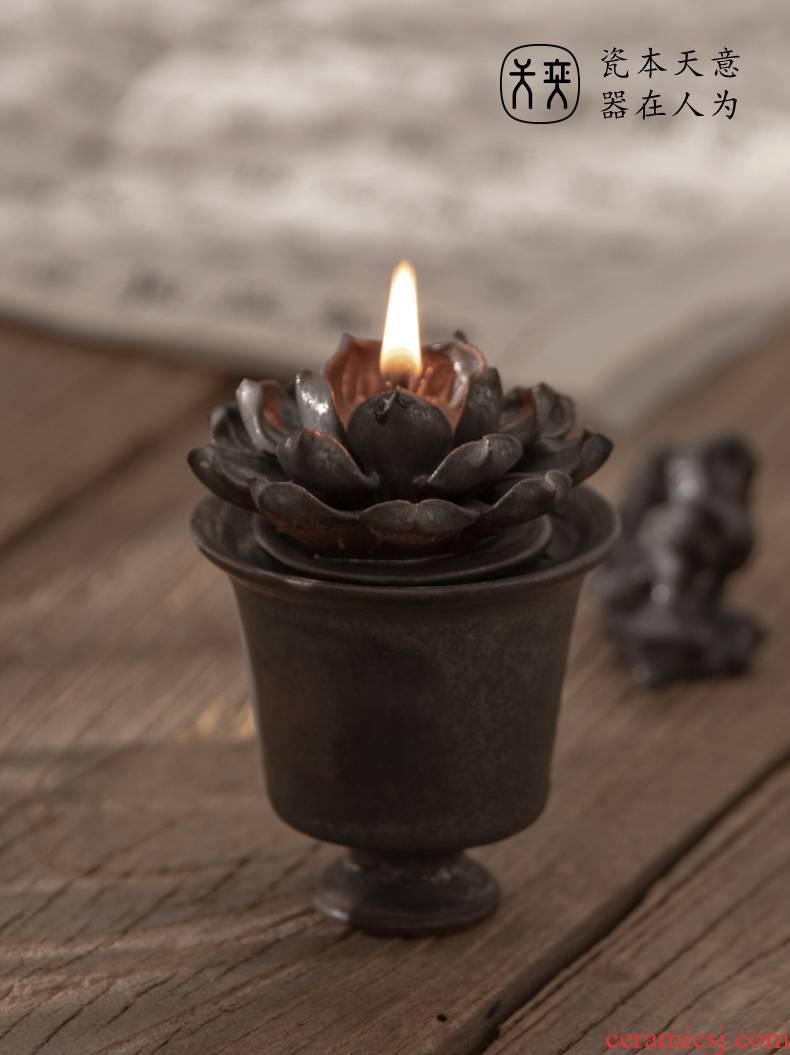 """Lotus"" days yi ceramic tea set furnishing articles zen tea teahouse restoring ancient ways ('m lamps ghee incense buner ornaments"