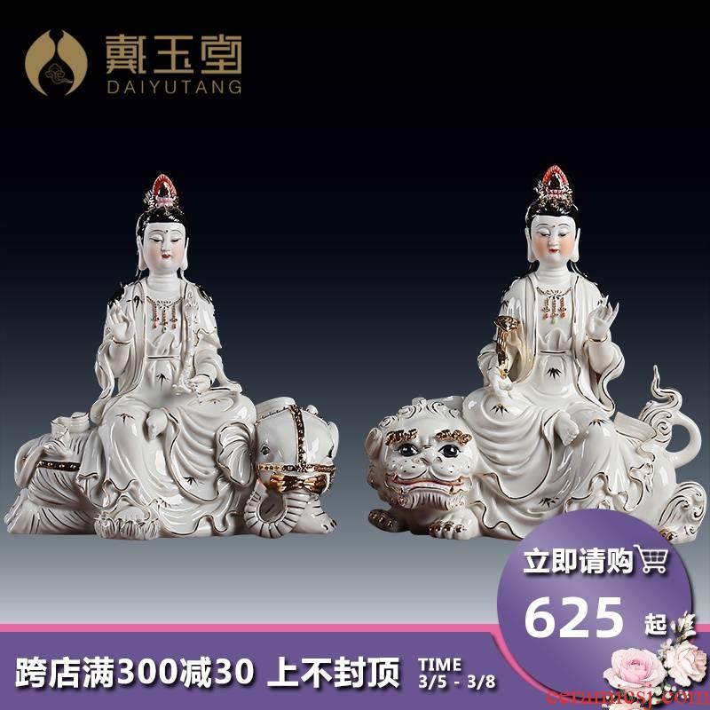 Yutang dai Christmas gift, ceramic buddhist supplies/10 inches Jin Caipu xian/manjusri bodhisattva D01-053