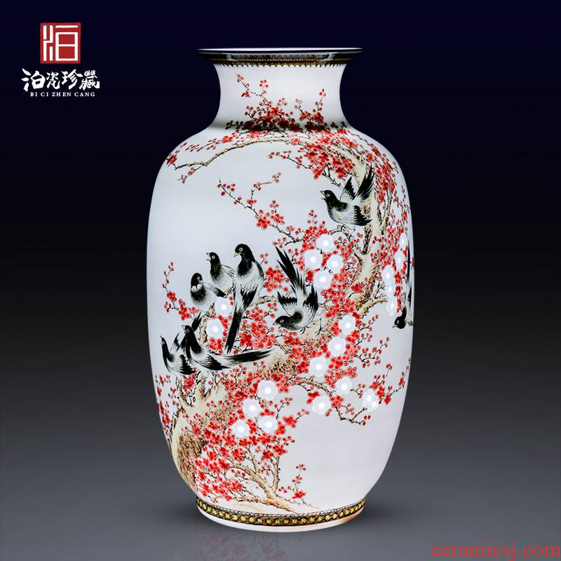 Jingdezhen ceramics hand carved new Chinese style household vase bedroom sitting room adornment is placed a wedding gift