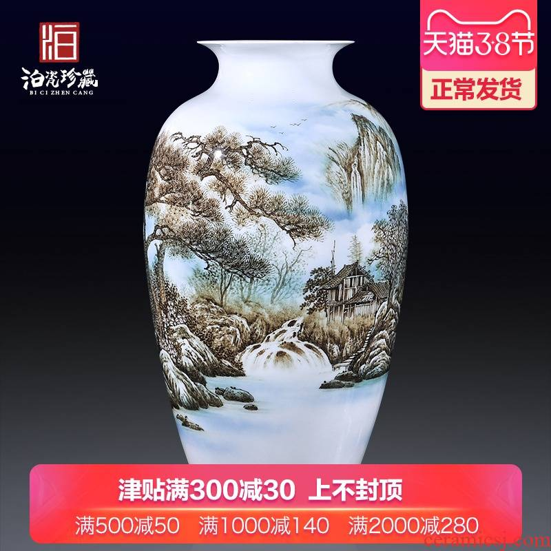 Hand draw flower arranging big vase of blue and white porcelain of jingdezhen ceramics new Chinese style living room TV cabinet porch is decorated furnishing articles