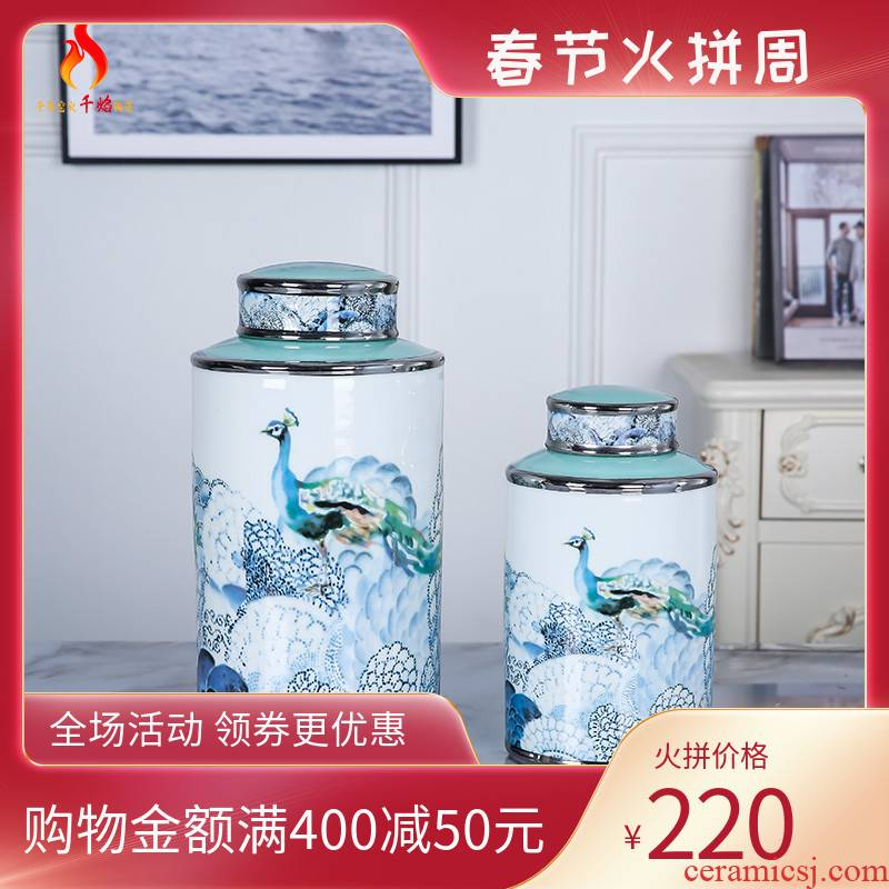 Jingdezhen ceramic vases, flower implement of new Chinese style piggy bank decoration sugar peacock sitting room porch creative soft furnishing articles