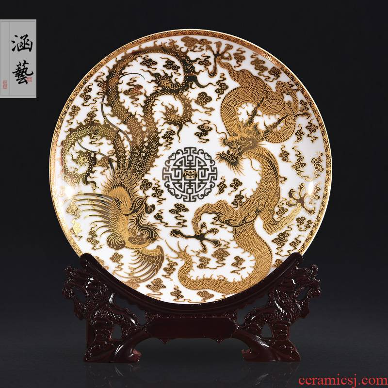 Jingdezhen chinaware paint longfeng decorate dish by dish hang dish sitting room adornment handicraft furnishing articles of the new Chinese style