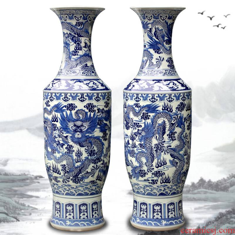 Hand by the French jingdezhen blue and white porcelain vase furnishing articles sitting room adornment company hotel opening gifts