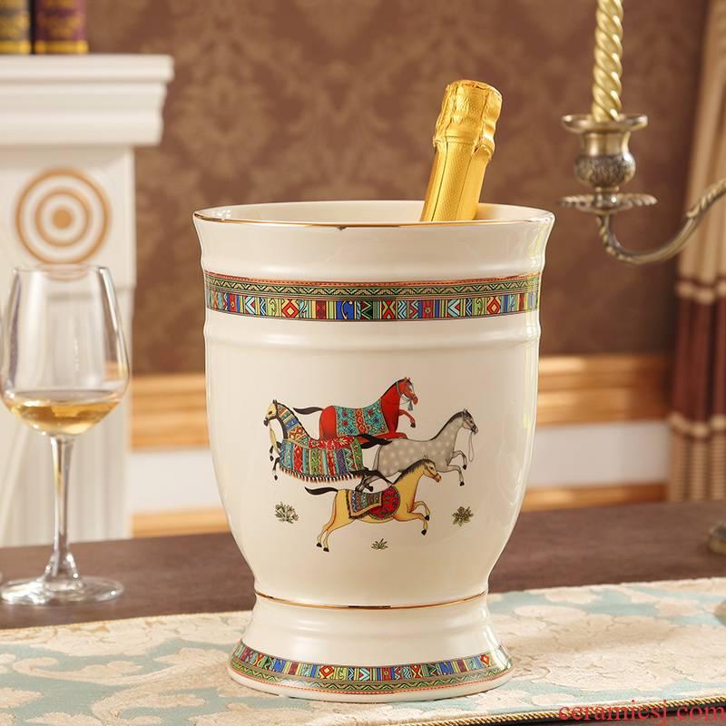 European ceramic wine bar supplies champagne ice bucket KTV red barrels of beer barrel barrel large ice bucket