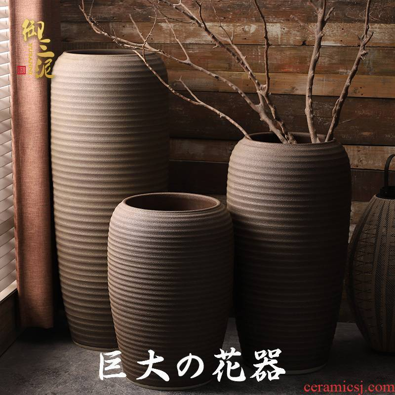Large ceramic vase Large landing a new dry flower simulation flower furnishing articles sitting room sells big villa garden flowerpot